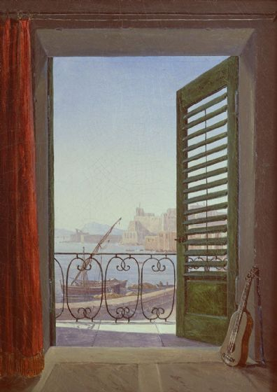 Carus, Carl Gustav: Balcony Room with a View of the Bay of Naples . Fine Art Print/Poster (4827)